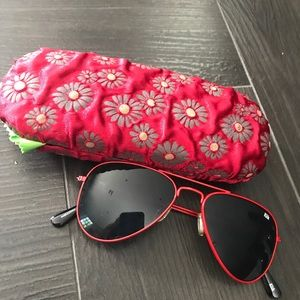 Pair of kids size red aviators w/ case &cleancloth